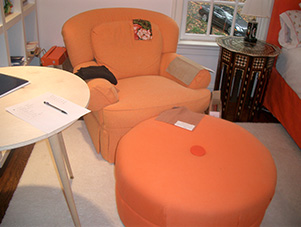Armchair_Ottoman_orange_family_room_Mclean_VA